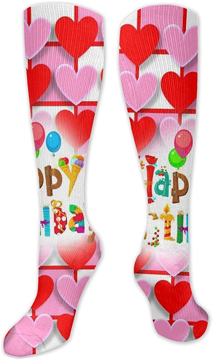 SXCVD Hearts Love Valentine Happy Birthday High Performance Athletic Casual Calcetín Largo para Mujeres y Hombres Apto para Viajes Correr Senderism