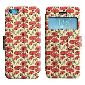 LEOCASE Bosquejo De La Flor Funda Carcasa Cuero Tapa Case Para Apple iPhone 5C No.1000098