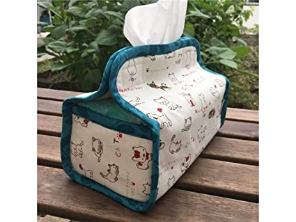 Godlife Dispensador de Papel Handmake Cat Design Cotton Linen Tissue Bag Tissue Napkin Case para el