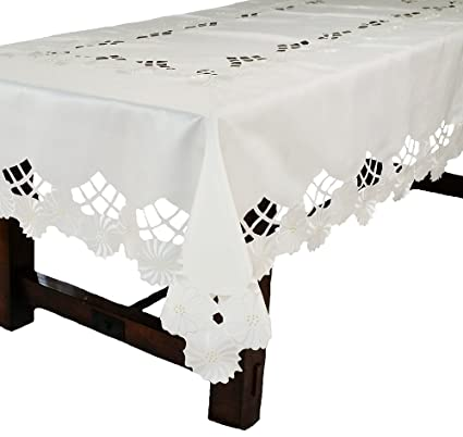 Xia Home Fashions Cutwork White Pattern with Embroidered Flower Table Cloth 72 by 108-Inch XD02051