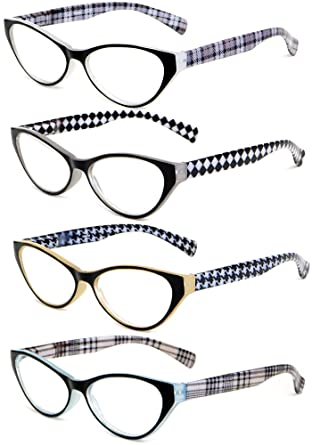 53b74d9338 Amazon.com  Calabria Emily Designer Reading Glasses 4-PACK VARIETY + ...