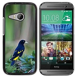 PC/Aluminum Funda Carcasa protectora para HTC ONE MINI 2 / M8 MINI black yellow bird feathers tropical green / JUSTGO PHONE PROTECTOR