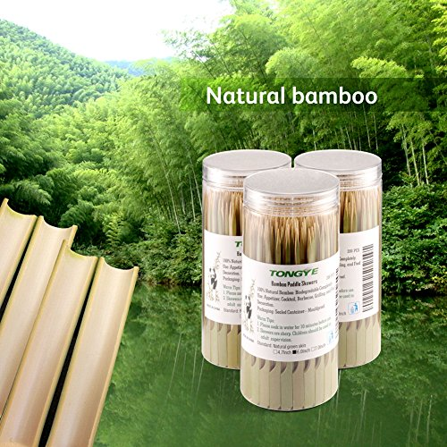 Bamboo Paddle Skewers 6 Inch with Clear Cylinder, Food Grade Cocktail Picks, Barbecue Stick. Decoration for Party Food, Appetizer, Dessert, Fruit, Sausage, Burger, Prawn, Kebab. (200PCS Green Skin) by TONGYE (Image #3)