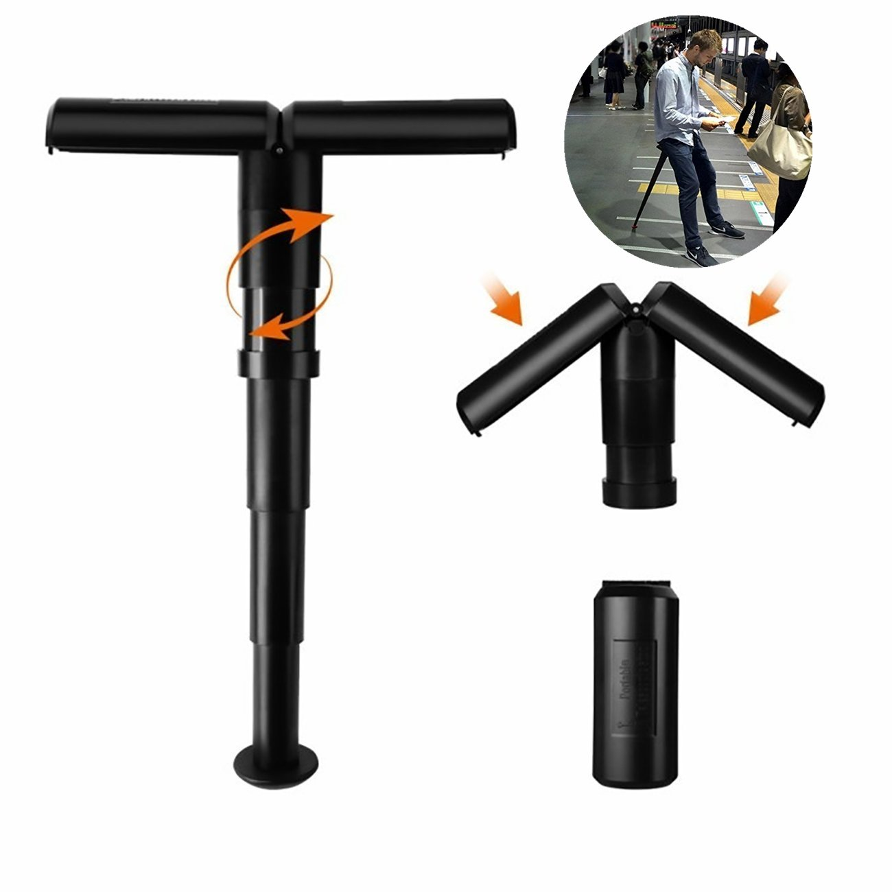 PJ Portable Seat - Stand-up Leaning Seat Compact Mini Folding Lightweight Adjustable Folding Stool for Concerts, Amusement Parks, Travel, Hiking, Camping, and Office.