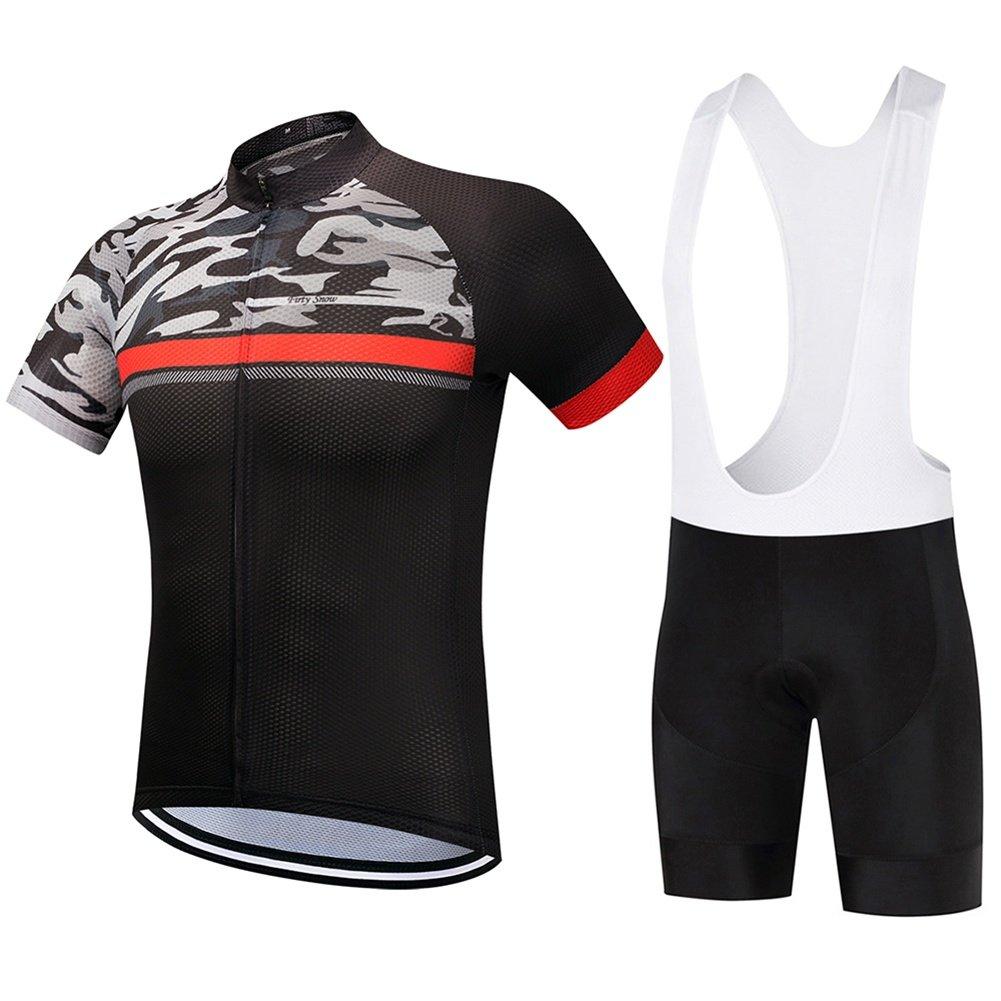 Beauty leader Männer Kurzarm Radtrikot Kit Anzüge Fahrradbekleidung Radfahren Trägerhose Mit Gel Gepolstert
