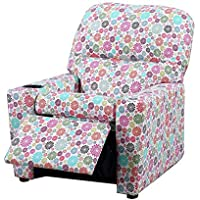 Malko Upholstered Kids Recliner Children Sofa with Cup Holder For Kids Under 50 (Flower)