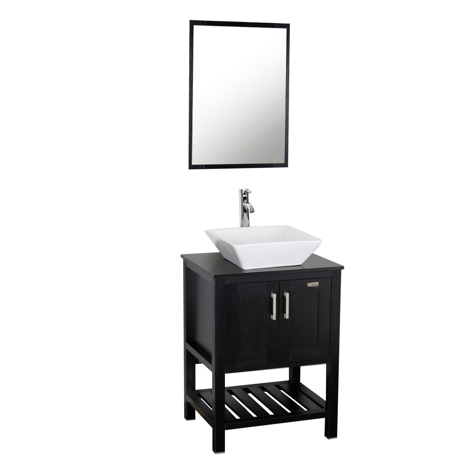. Eclife 24 inch Modern Bathroom Vanity Units Cabinet And Sink Stand Pedestal  with White Square Ceramic Vessel Sink with Chrome Bathroom Solid Brass