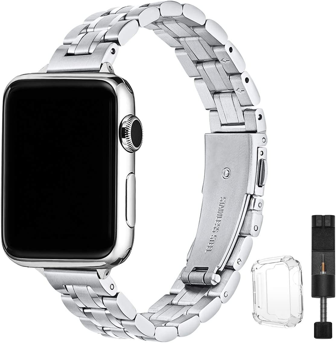 STIROLL Thin Replacement Band Compatible for Apple Watch 38mm 40mm 42mm 44mm, Stainless Steel Metal Wristband Women Men for iWatch SE Series 6/5/4/3/2/1 (Silver, 42mm/44mm)