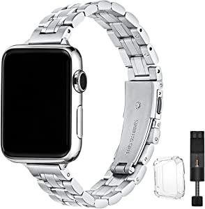 STIROLL Thin Replacement Band Compatible for Apple Watch 38mm 40mm 42mm 44mm, Stainless Steel Metal Wristband Women Men for iWatch SE Series 6/5/4/3/2/1 (Silver, 38mm/40mm)