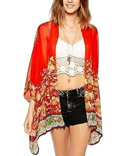 2b402387913ca Amazon.com: AELSON Women's Floral Chiffon Kimono Cardigan Blouse ...