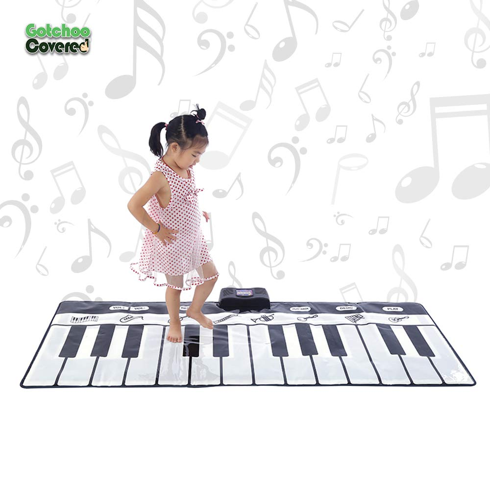 Gotchoo covered Musical Piano Play Mat - Great Way for Activity‏ & Learning, Toy-Educational for Toddlers to Learn Music Jumbo Sized Dance Keyboard mat with 24 Keys Piano Play- Multiple Instruments by Gotchoo covered (Image #1)