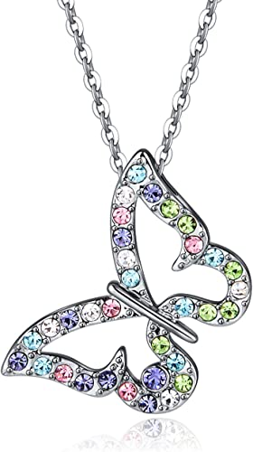 Kiokioa Charm Butterfly Multi-Color Crystal Chain Pendant Necklace Fashion Gift for Women Girls (Style 1)