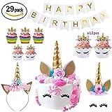 Makadami Unicorn Party Supplies - Unicorn Cake Toppers - Unicorn Headband Horn - Unicorn Birthday Party Items - Unicorn Cake Decorations - 3d Unicorn CupCake Topper - Diy Unicorn Cake Decorating Kit