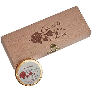 DreiMeister Chocolate para vino Caja de madera 6 Thalers 48 g