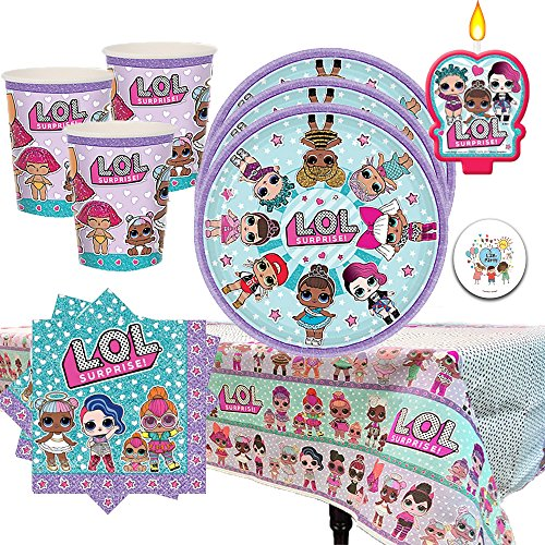 Price comparison product image Another Dream L.O.L Surprise Birthday Party Pack for 16 with Plates, Napkins, Cups, Tablecover, and Candles!