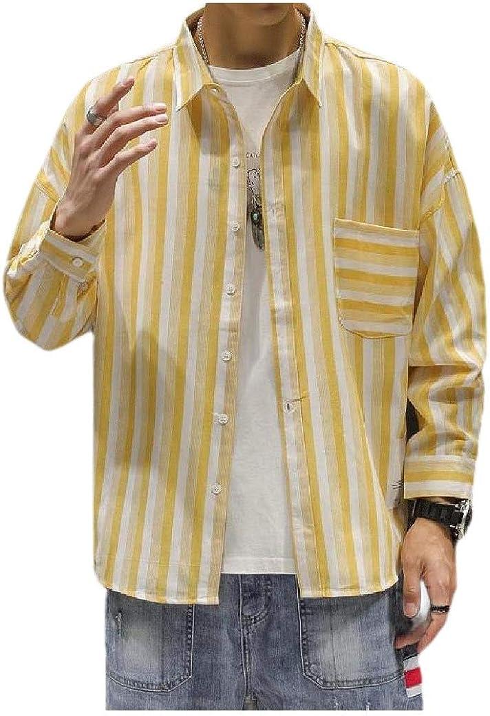 Abetteric Men Plus-Size Vintage Stripes Printed Long Sleeve Square Collar Dress Shirt