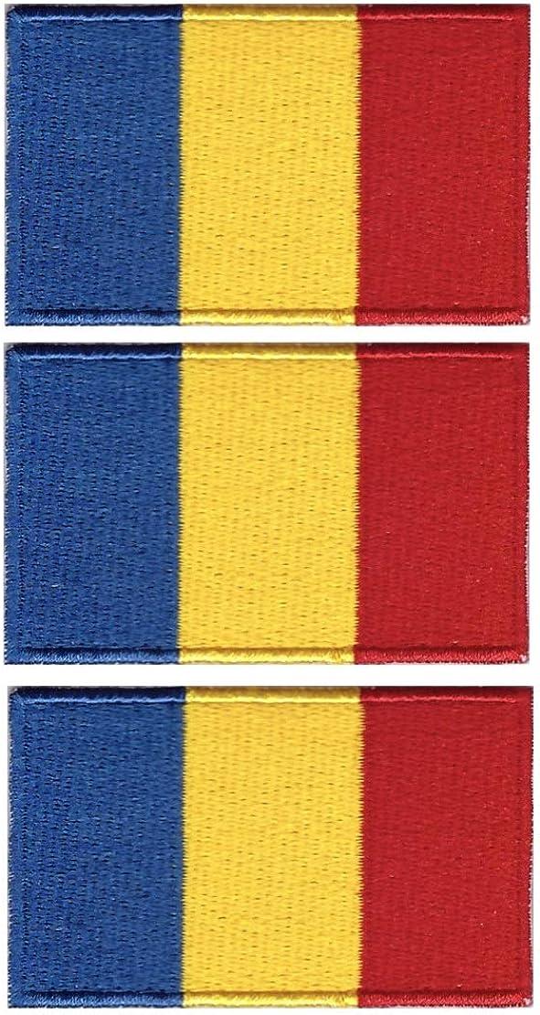 Tanto - Juego de 3 Parches Bordados con la Bandera de Rumania para Coser o Planchar (65 x 40 mm): Amazon.es: Joyería