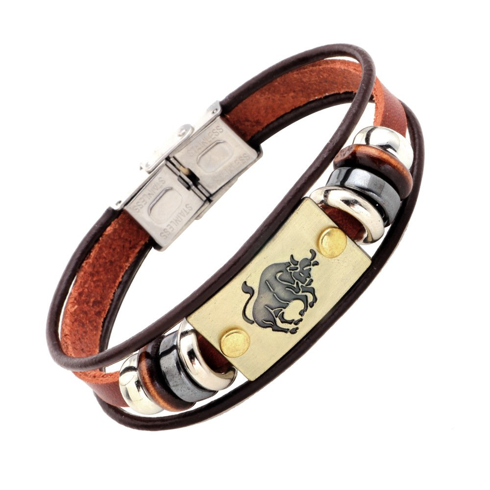 9bdd844455471 CHUYUN Virgo/Sagittarius/Aquarius/Scorpio/Libra/Capricorn 12 Horoscope  Zodiac Constellation Bracelet Men Women Braided Leather Bracelets & Bangles