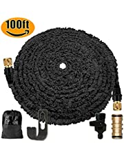 Running bulls 100FT Expandable Garden Hose Pipe Without Spray Gun,Expanding Flexible Water Magic Hosepipe with Brass Double Male Garden Hose Connector/Hose Holder/Storage Bag (Black)