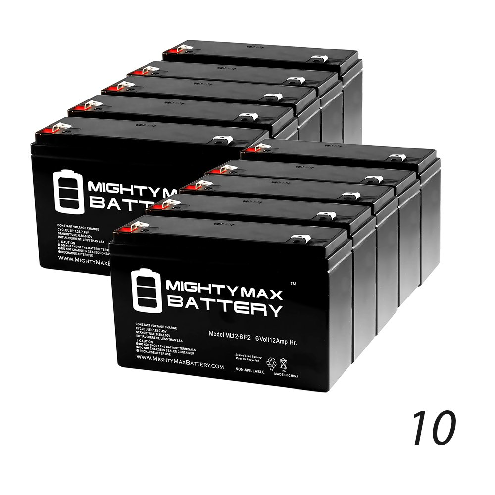 6V 12AH SLA Battery Replaces Lithonia ELB-0610, ELB-06010 - 10 Pack - Mighty Max Battery brand product