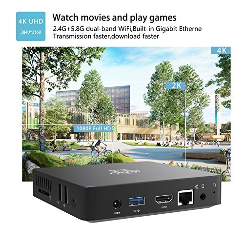 Z83-W Mini PC, Intel Atom x5-Z8350 Processor (2M Cache, up to 1.92 GHz) 4K/2GB/32GB 1000Mbps LAN 2.4/5.8G Dual Band WiFi BT 4.0 with HDMI and VGA Ports, Fanless Computer by COOFUN (Image #6)
