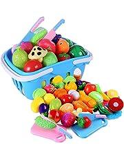 Petforu 37pcs Kitchen Toys Pretend Play Food Vegetables & Fruits Cutting Kitchenware Set for Kids (Blue)