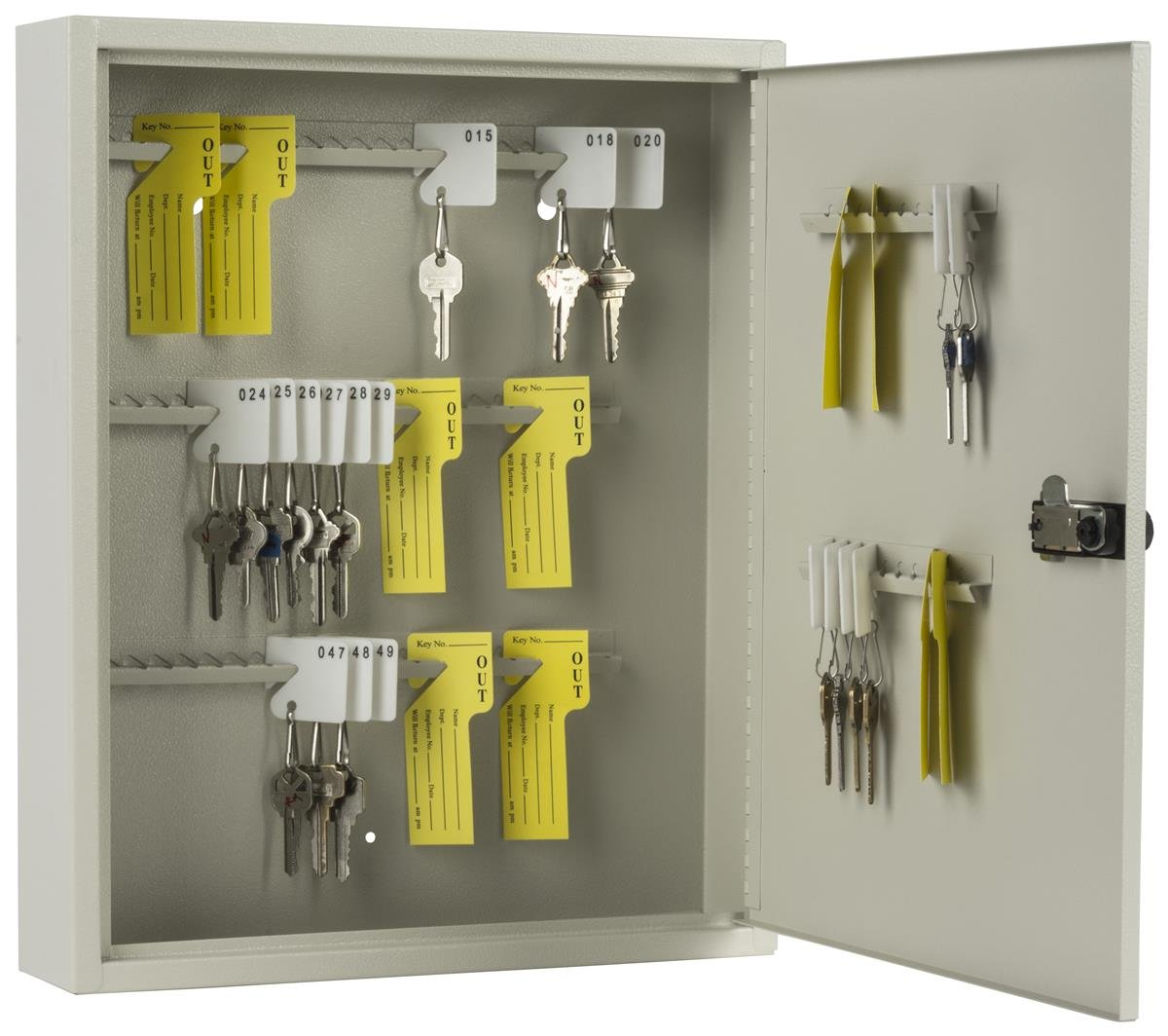 Displays2go Locking Key Cabinet with 80 Hooks, Manual Combination Lock, Wall Mount, Gray Steel (PWCBN80TN)