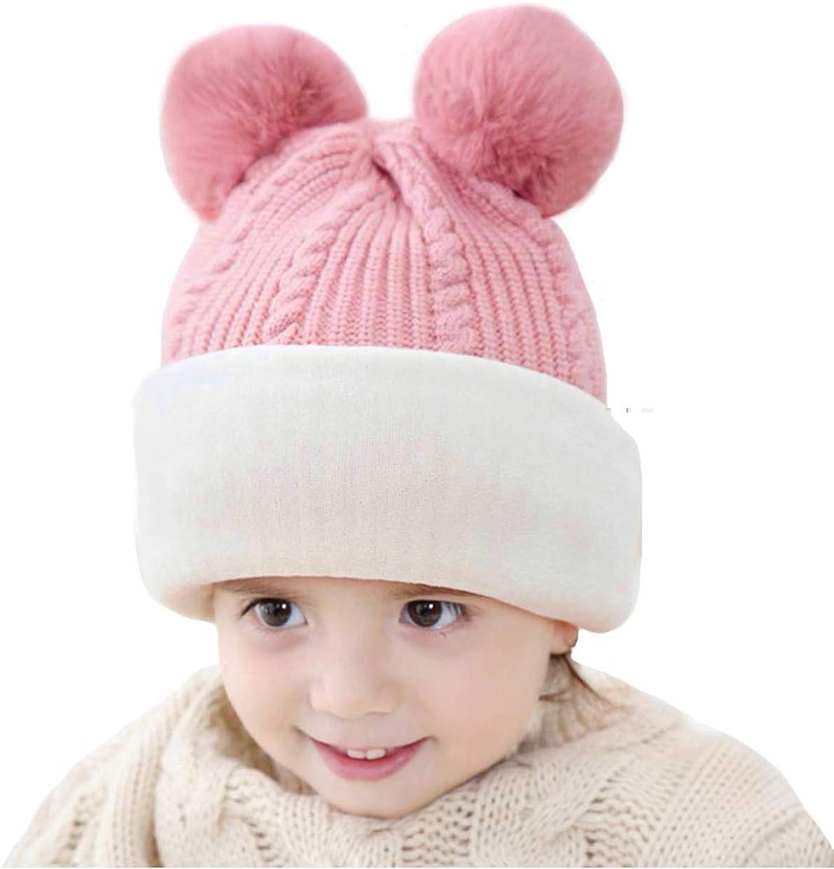 vamei Enfants Bonnet Echarpe Cape Hiver Chapeau Chaud b/éb/é en Tricot Pom Toddler Cagoule Balaclava Cache-Cou Masque Tour de Cou Coupe-Vent en Tissu Filles Gar/çons B/éb/és