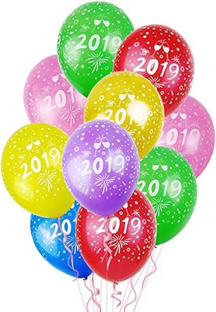 """12/"""" Eve Party Decoration Supplies ~ 2019 10pcs Happy New Year Latex Balloons"""