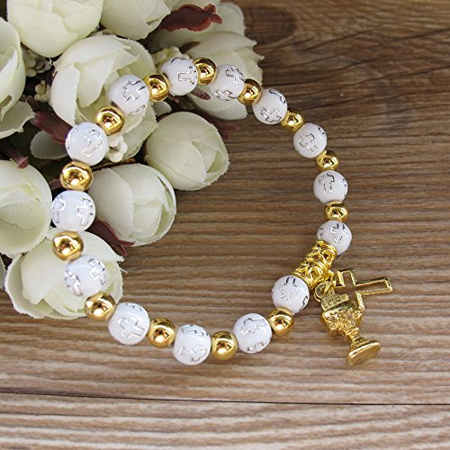 (First Holy Communion Party Favor (12 PCS) Stretch Wood Bracelet with Gold Metal Chalice and Cross Charms/Recuerdos para Primera Comunion Niña Niño/Gift for Guests )