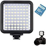 Godox LED 64 Video Lights Porable Dimmable Continuous On Camera LED Panel Light Lamp+VFOTO Lens Cleaning Paper for DSLR Camera Nikon, Canon, Sony(Godox LED 64)