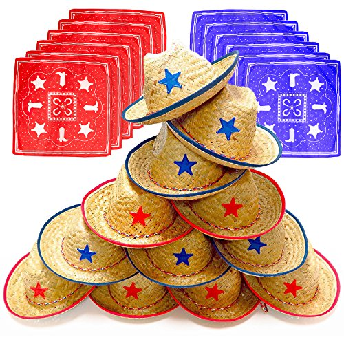 Dozen Straw Cowboy Hats and Bandanas for Kids - Makes Great Birthday Party Hats for Boys and Girls (Western Hat Plastic)