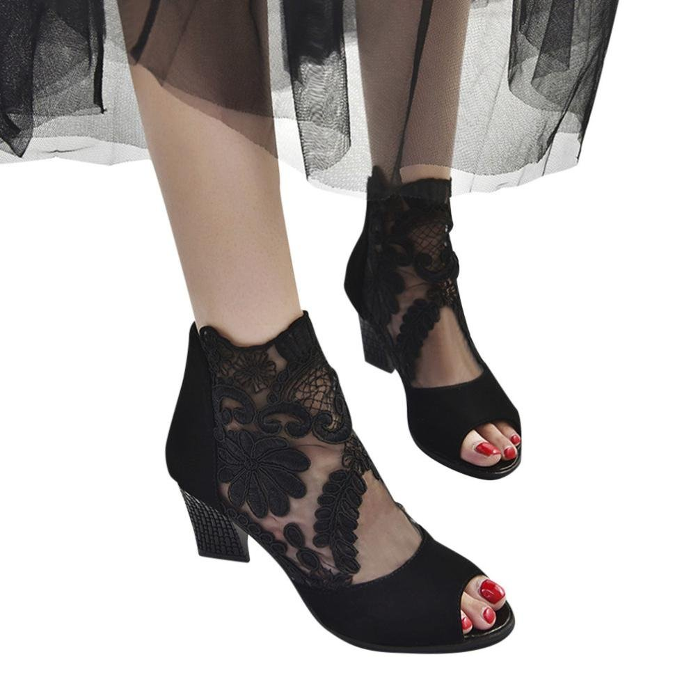 Baigoods Sexy Lady Lace Mosaic the Fish Mouth Low Mid Heel Party Dress Shoes Zipper in The Back (US:5.5, Black)