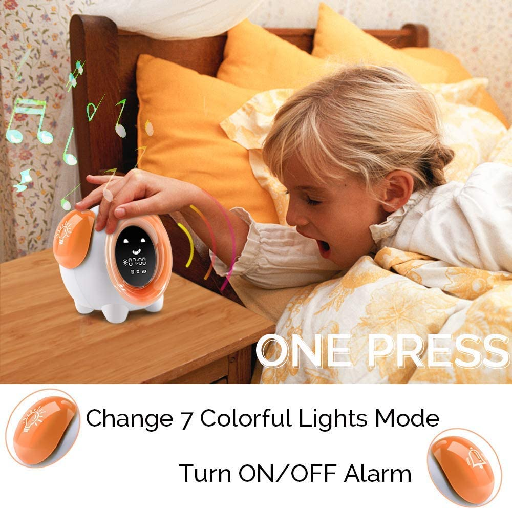 Orange 1 OYRGCIK Kids Alarm Clock Children Sleep Trainer with Rechargeable Battery USB Charger Night Light Clock with 7 Colors Changing Lights 4 Rings for Toddlers Girls Boys Bedroom Teach Time to Wake