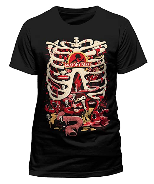 RICK AND MORTY - ANATOMY PARK - Camiseta Oficial Negro 100% Algodón (S)