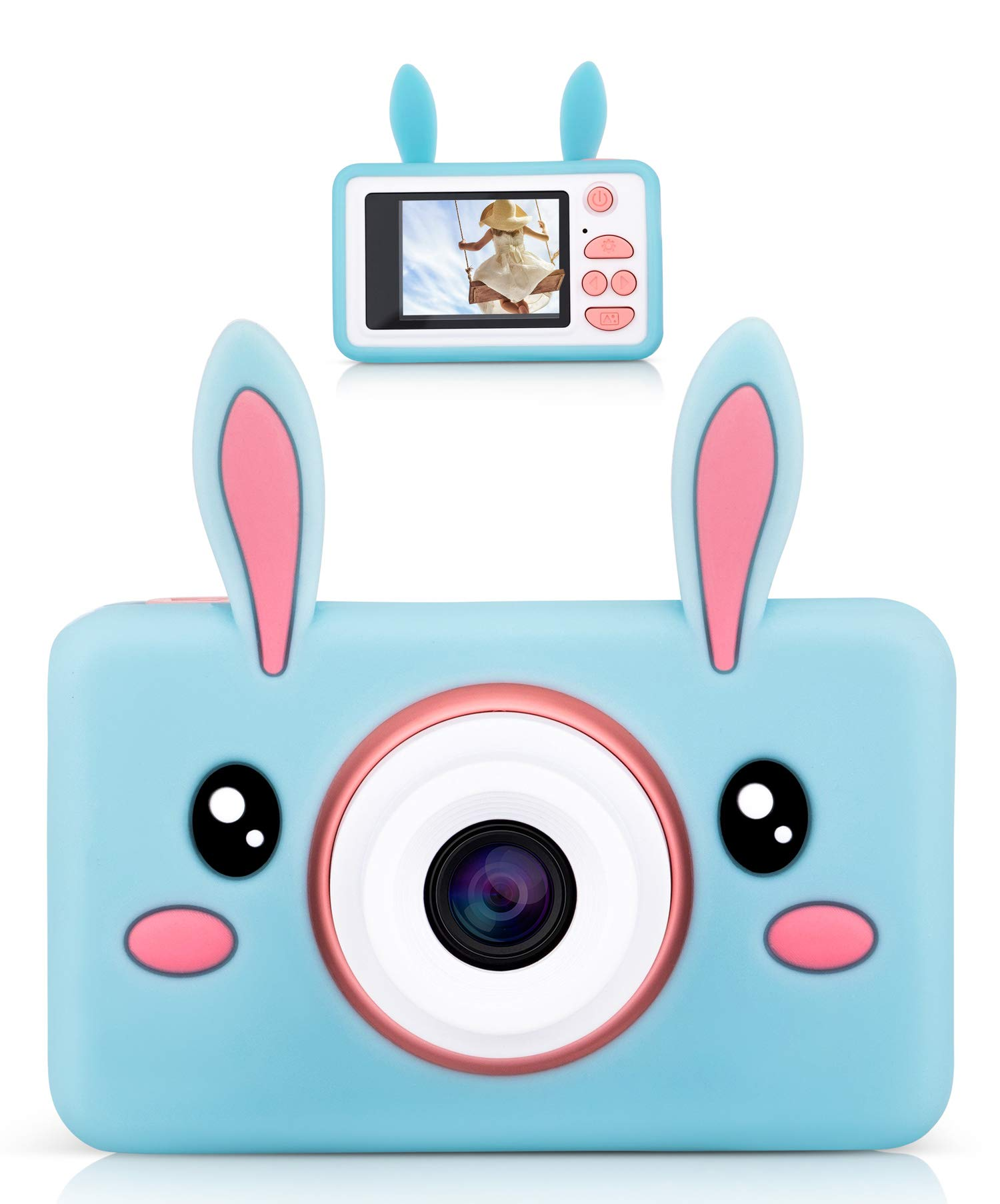 Lilexo Kids Camera - Children Shockproof Mini Digital Video Camcorder for Girls Gifts, Anti Slip Grip with Animal Silicone Cover for Extra Protection - 16GB Memory Card Included (Blue Rabbit) by Lilexo (Image #1)