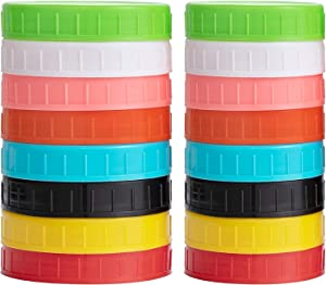 vorey 16 Pack Colored Plastic Mason Jar Lids Fits Ball, Kerr & More, 8 Wide Mouth & 8 Regular Mouth - Food-Grade Storage Caps for Canning Jars - Anti-Scratch Resistant Surface