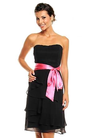 Chiffon Kleid im Stufen-Look mit Schleife, Cocktailkleid Abendkleid kurz,  schwarz S 36