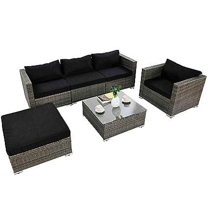 Amazon.com: Lucky-gift – Juego de sofá de mimbre para patio ...