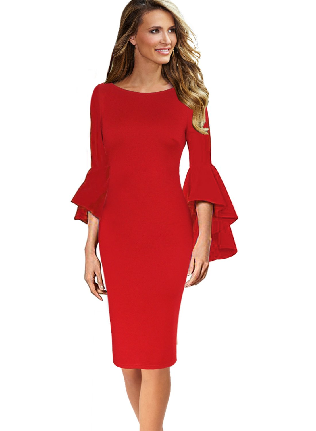 VfEmage Womens Elegant Bell Sleeve Wear to Work Party Cocktail Sheath Dress 8350 RED 12