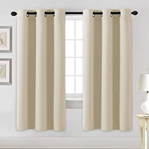 Blackout Curtains for Bedroom Thermal Insulated Room Darkening Living Room Curtains 72 Inch Long Grommet Privacy Protection Window Curtain Panels/Drapes for Nursery, 2 Panels, Elegant Beige