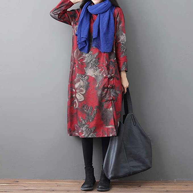 Amazon.com: AOJIAN Women Jacket Long Sleeve Outwear Vintage Ink Painting Floral Print Button Maxi Trench Coat Wine: Clothing