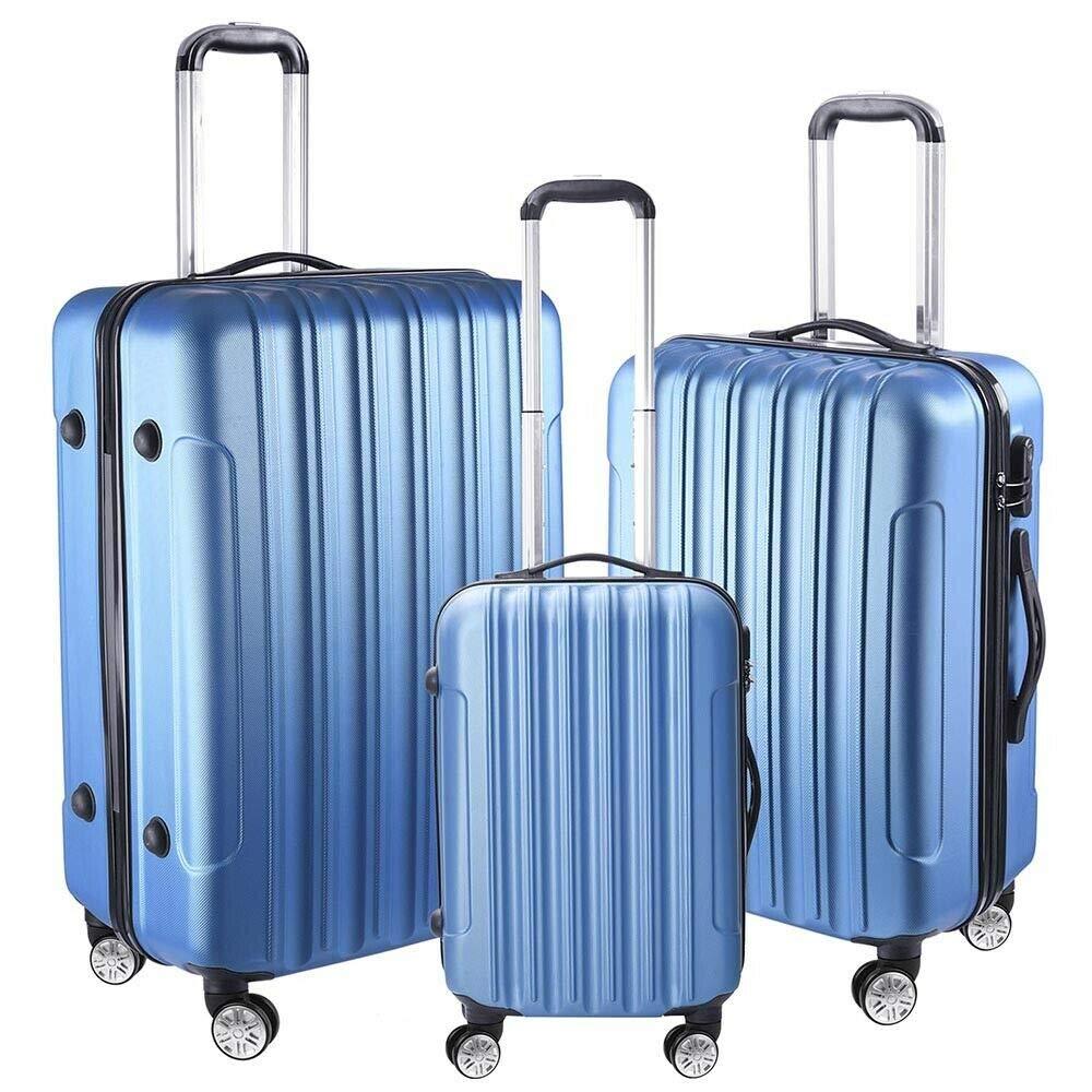 Durable Lightweight Modern 3 Pcs Luggage Travel Set Bag ABS Wheels 360° Rolling Wheels Organizer Storage Portable Suitcase Blue 20'' 24'' 28'' by LamoreStore