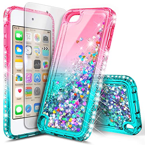 iPod Touch 7th /6th /5th Generation Case, iPod Touch 7/6/5 with Tempered Glass Screen Protector for Women Girls Kids, NageBee Glitter Sparkle Liquid Floating Waterfall Durable Cute Case -Pink/Aqua (Ipod Touch 5 Generation Cases)