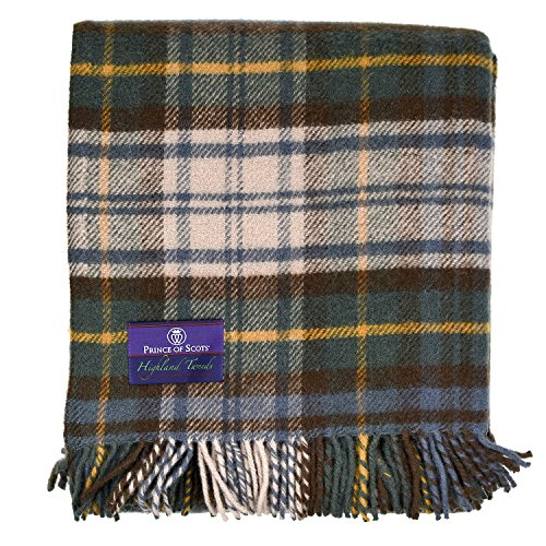 Prince of Scots Highland Tartan Tweed 100% Pure New Wool Throw ~Antique Dress Gordon ~ by Prince of Scots