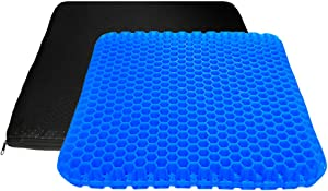 Large Gel Seat Cushion, Double Layer Egg Gel Cushion for Car Seat Office Wheelchair Chair, Breathable Chair Pads Help in Relieving Pressure Pain (17x17x1.65inch)