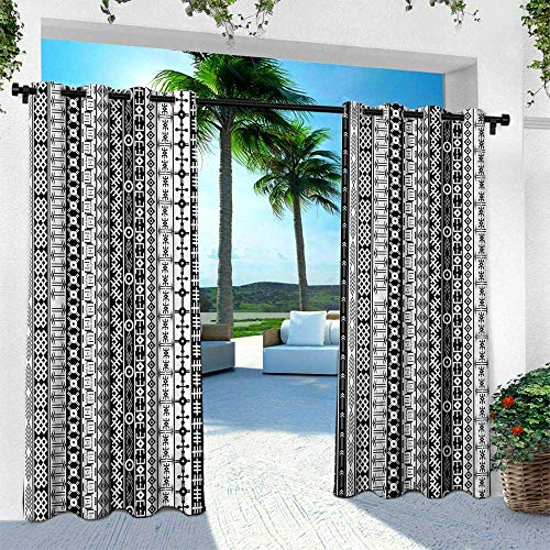 Hengshu Primitive, Outdoor Patio Curtains Waterproof with Grommets,Black and White African Tribal Motifs Native Artistic Geometric Borders Design, W96 x L96 Inch, Black White