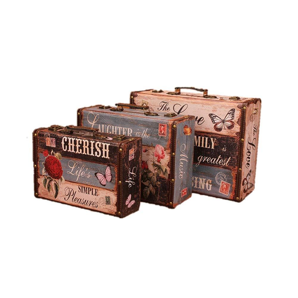 KIKIRon-Home Holz-Schatztruhe Set von 3 Retro-Boxen Vintage Style Koffern mit schönen Mustern in Antik-Design Geschenk-Ideen for Weihnachten, Geburtstag, Toy Box, Decke Box
