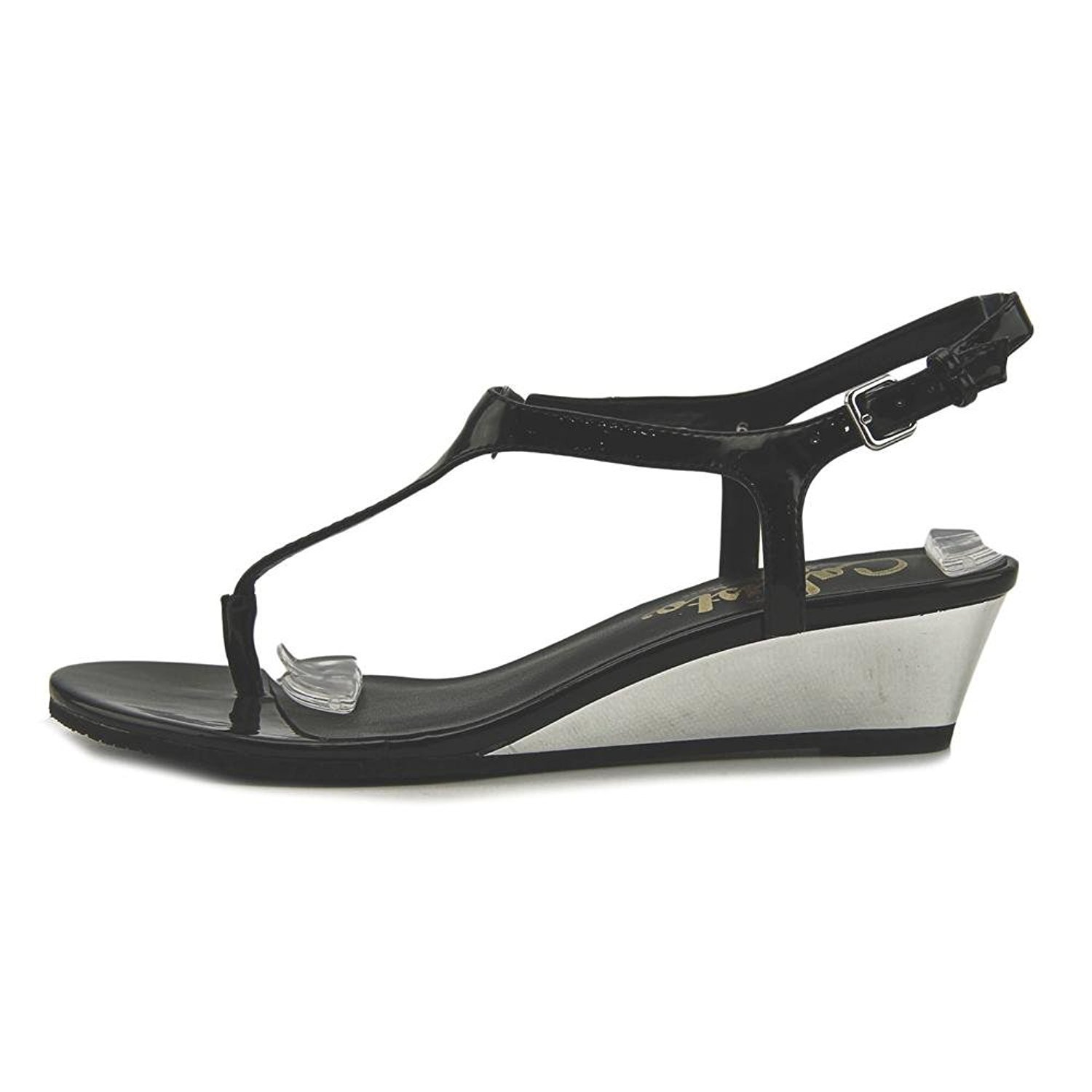 Callisto Womens Spring Open Toe Casual Ankle Strap Sandals B07DPKWCG8 5 B(M) US|Black Patent