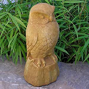 Búho de piedra fundido jardín–estatua de bronce envejecido